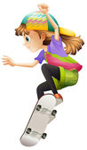 A young woman skateboarding — Stock Vector