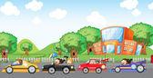 Children car racing — Stock Vector