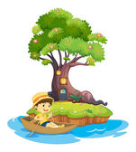 A boy boating — Stock Vector