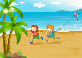 Kids playing at the beach with their kite — Stock Vector