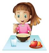 A girl eating breakfast — Stock Vector