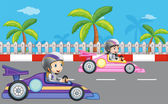 Girls car racing — Stock Vector