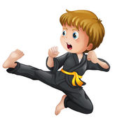 A young boy showing his karate moves — Stock Vector