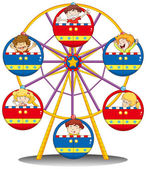 Happy kids riding the ferris wheel — Stock Vector