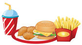 Foods from the fastfood restaurant — Stock Vector