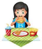 A hungry girl eating at a fastfood restaurant — Stock Vector