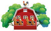 A farmhouse with four horses and a rooster — Stock Vector