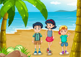 Children strolling at the beach — Stock Vector
