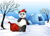 A panda with a red sack — Stockvector