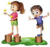 Kids playing above the stumps — Stock Vector