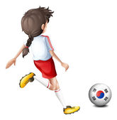 A girl kicking the ball with the South Korean flag — Stock Vector