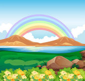 A view of the rainbow and the beautiful nature — Stock Vector