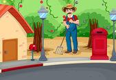A man raking the soil near the road — Stock Vector