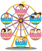 Happy children riding the ferris wheel — Stock Vector