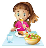 A little girl eating lunch — Stock Vector