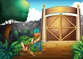 A woodman chopping woods — Stock Vector