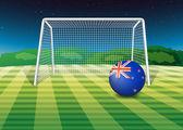 Yeni zelanda bayrağı alanına, bir futbol topu — Stok Vektör