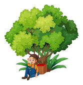 A young farmer under the tree — Stock Vector