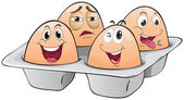 An eggtray with four eggs — Stock Vector