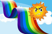 A sun frowning near the rainbow — Stock Vector
