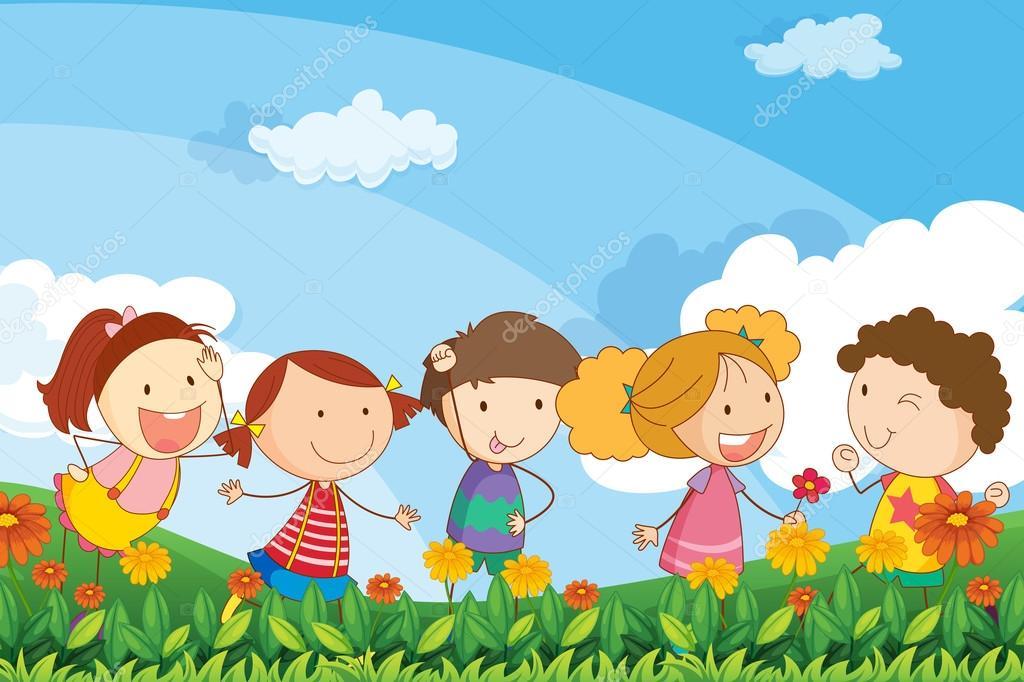 Cinco adorables ni os jugando en el jard n vector de for Figuras para el jardin