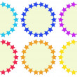 Colourful round empty templates made of stars — Stock Vector