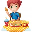A hungry boy eating — Stock Vector #46488249