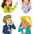 Four business icons communicating — Stock Vector #46488283