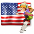 A female skater near the USA flag — Stock Vector #46488381