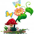 A big flower near the mushroom with two butterflies — Stock Vector #46488465