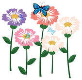 Fresh flowers with butterflies — Stock Vector