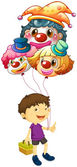 A boy carrying three clown balloons — Stock Vector