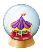 A crystal ball with a kiddie ride inside — Stock Vector