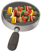 A pan with foods on stick — Vector de stock