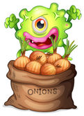 A monster and a sack of onions — Stock Vector