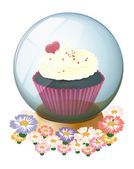 A crystal ball with a mouthwatering cupcake — Stock Vector