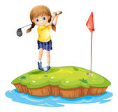 An island with a young girl playing golf — Stock vektor