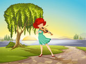 A talented girl with a violin — Stock Vector