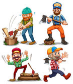 Hardworking woodmen — Stock Vector