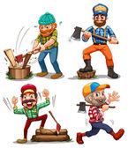 Hardworking woodmen — Stock Vector