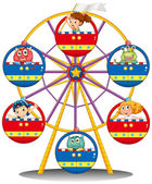 A carnival ride with monsters and kids — Stock Vector