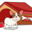 A young bulldog outside the doghouse — Stock Vector