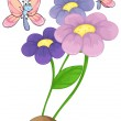 Blooming flowers with two butterflies — Stock Vector #47182079