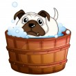 A bulldog inside the bathtub — Stock Vector