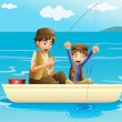 A father and a son fishing — Stock Vector #47182549