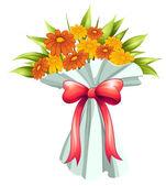 Een boquet van geel en oranje bloemen — Stockvector