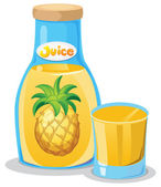 A bottle of pineapple juice — Stock Vector