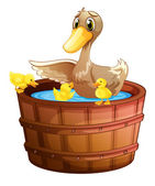 A duck and her ducklings at the bathtub — Stock Vector