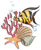 A stripe-colored fish under the sea — Stock Vector