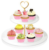 A cupcake tray with pink cupcakes — Stock Vector